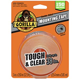 """Gorilla Tough & Clear Double Sided XL Mounting Tape, 1"""" x 150"""", Clear, (Pack of 1)"""