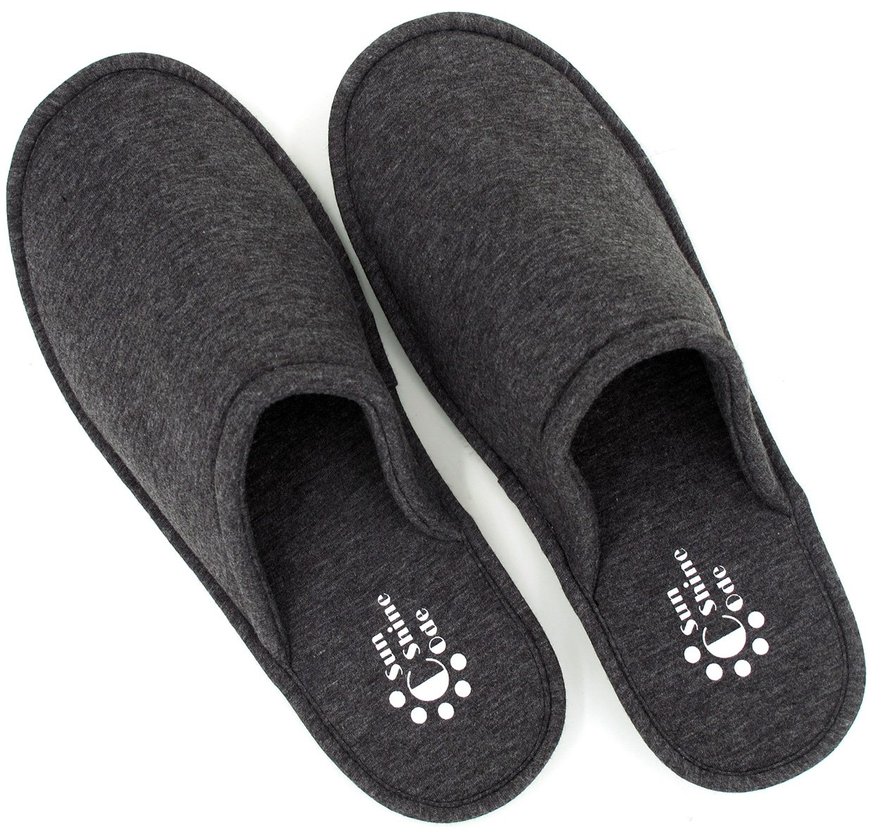 Sunshine Code Women's Memory Foam Cotton Washable Slippers with Matching Travel Bag for Home Hotel Spa Bedroom, M, Black