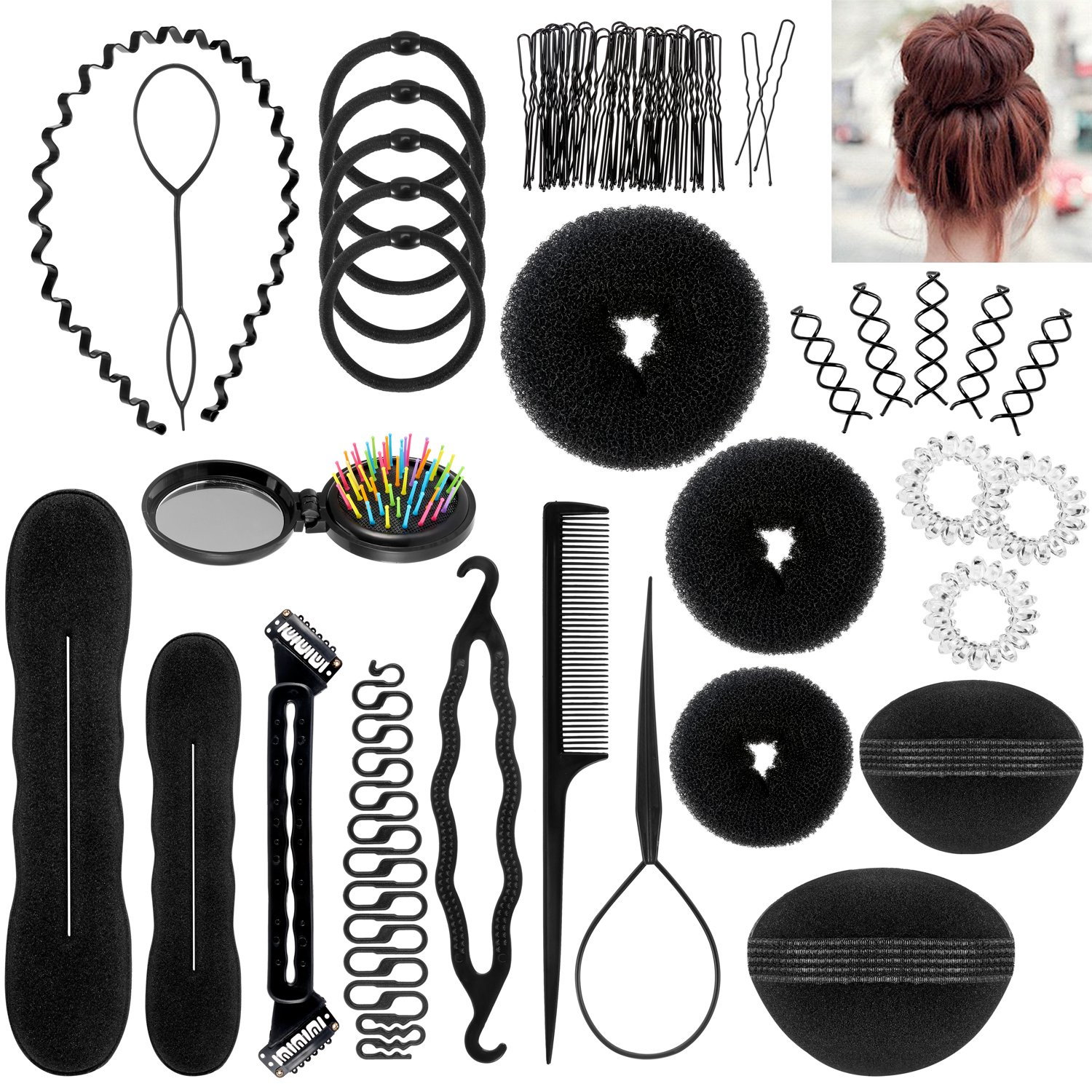 ivencase Accessori Per Capelli Pins Capelli, 28 Tipi set di acconciature Hair Styling Tool, Mix Accessori Set Gioielli per Capelli Donne Ragazze per DIY