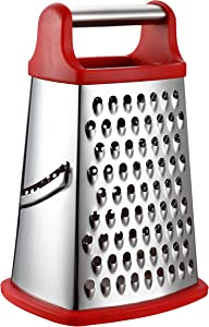 Spring Chef Professional Box Grater, Stainless Steel with 4 Sides, Best for Parmesan Cheese, Vegetables, Ginger, XL Size, Red