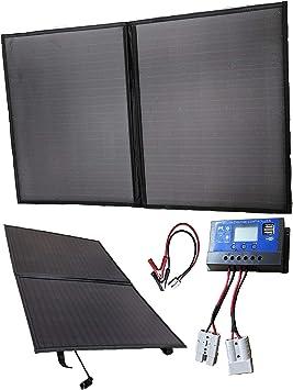 Cargador con panel solar de 100 W, 12 V, de Apark, kit plegable para autocaravana, caravana, furgoneta, coche, barco, yate, ideal para camping, ...