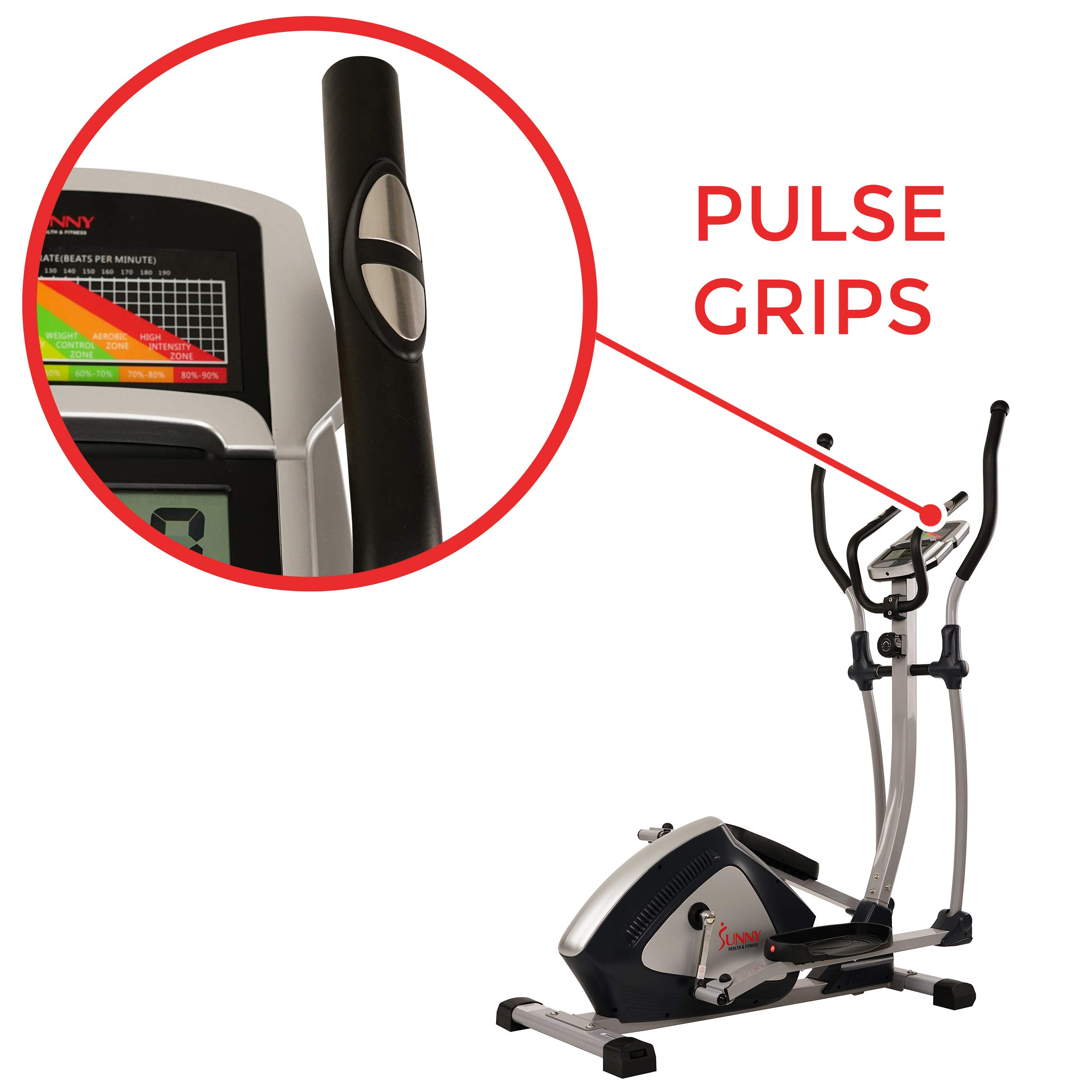 Sunny Health & Fitness Magnetic Elliptical Trainer Elliptical Machine w/  LCD Monitor and Heart Rate Monitoring - Endurance Zone - SF-E3804 by Sunny Health & Fitness (Image #5)