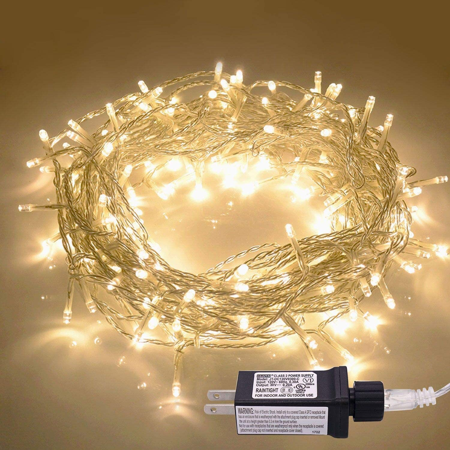 JMEXSUSS 30V 8 Mode 200LED 82.1ft Indoor String Light Christmas Lights Fairy String Lights for Homes, Christmas Tree, Wedding Party, Room, Indoor Wall Decoration, UL588 Approved(200LED, Warm White)