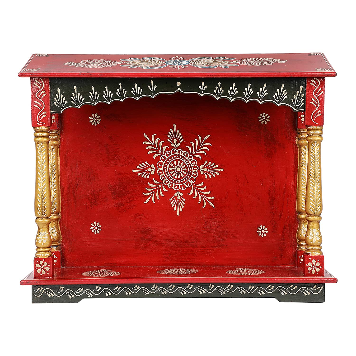 Harisons Homes WM161906 Wooden Antique Mandir with Carving (Brown)