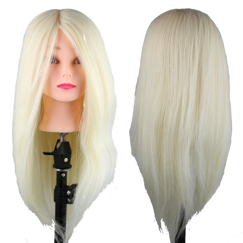 Dreambeauty Mannequin Head with Hair Salon Head Hair Cutting Mannikin 22inch Human Hair and Synthetic Hair Mixed Qingdao Feiyang Hair Co. Ltd