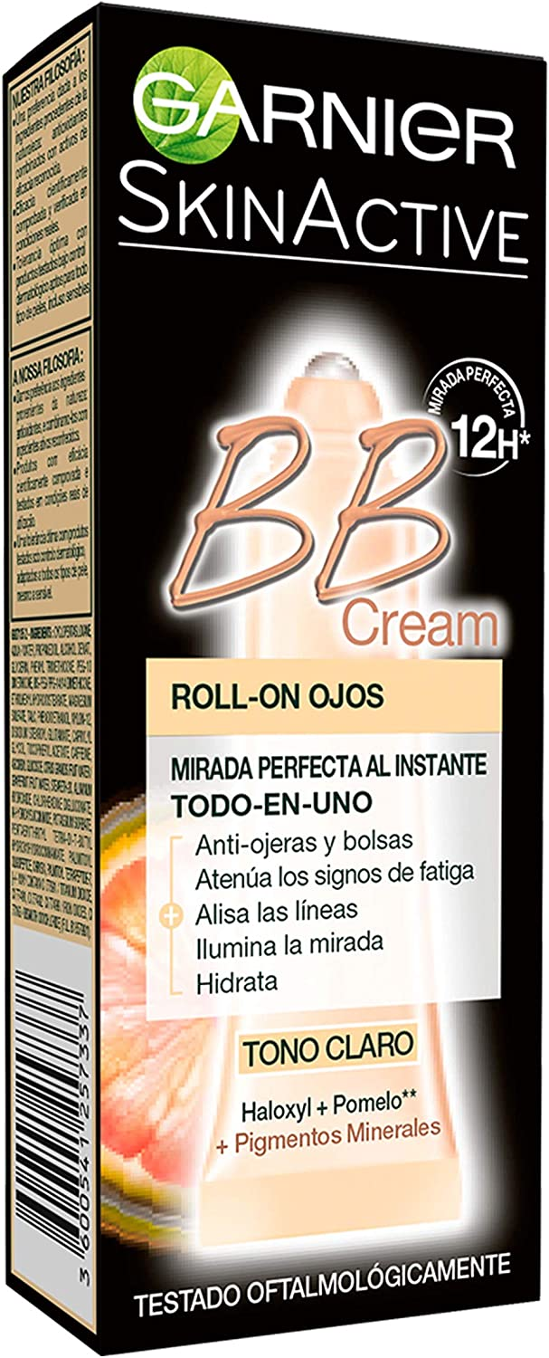 Garnier Skin Active - BB Cream Roll-On Ojos, Crema Correctora y Anti-Imperfecciones, Tono Claro - 7 ml