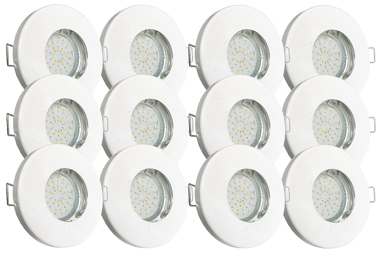 Trango® Set IP44Faretto da incasso bianco tg6729ip 126B bagno/doccia/Sauna incluso 12X GU103,0Watt LED lampadina 3000K Bianco & W presa da incasso in acciaio inox laccato, Acciaio Inossidabile