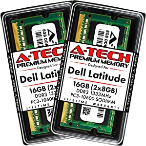 A-Tech 16GB (2x8GB) RAM for Dell Latitude E6520, E6420, E6320, E6220, E5520, E5420 | DDR3 1333MHz SODIMM PC3-10600 Laptop Memory Upgrade Kit