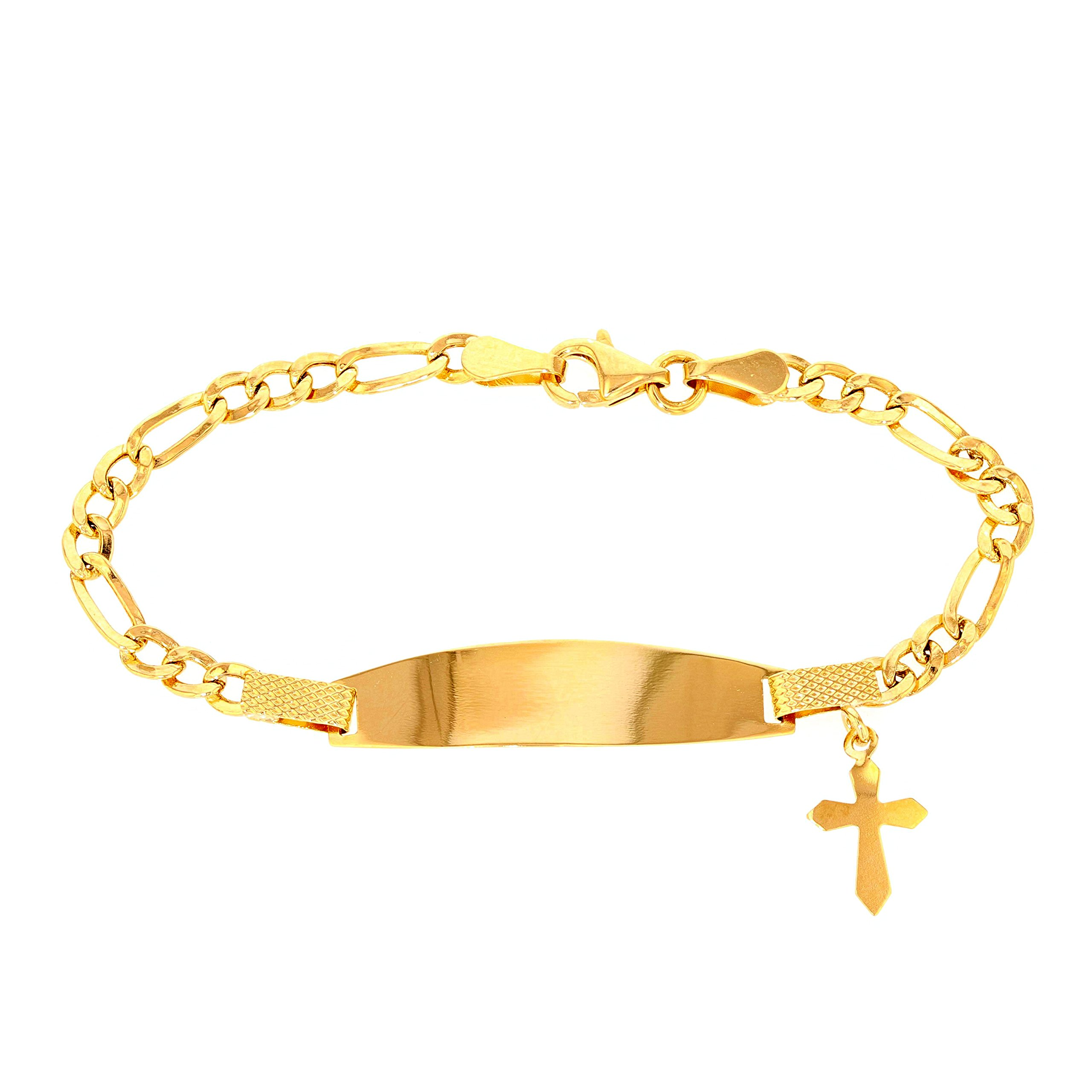 Solid 14k Yellow Gold Baby ID Bracelet with Religious Cross, 5.5''