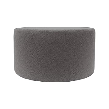 Rebecca Mobili Puff reposapiés plano, tejido gris, salón, accesorios hogar - Medidas: 25 x 45 x 45 (AxANxF) - Art. RE4543