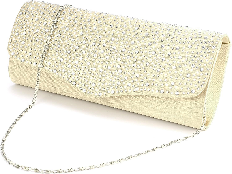 Anladia Full Diamante Satin Clutch Party Prom Wedding Bridal Evening Handbag Women Bag Purse
