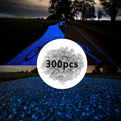 300pcs Glow in The Dark Pebbles for Walkways Décor, Outside Bulk Glow in The Dark Rocks for Outdoor Fairy Garden, Glowing Stones for Driveway, Fish Tank Aquarium Glow Decorations Gravel, White/Blue : Garden & Outdoor