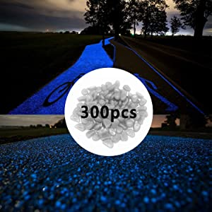 300pcs Glow in The Dark Pebbles for Walkways Décor, Outside Bulk Glow in The Dark Rocks for Outdoor Fairy Garden, Glowing Stones for Driveway, Fish Tank Aquarium Glow Decorations Gravel, White/Blue