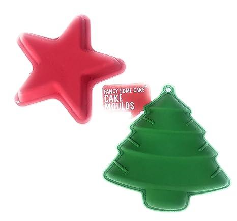 Moldes de silicona para tartas de árbol de Navidad y estrella de Navidad antiadherente