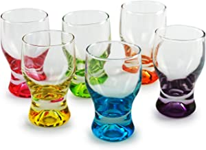 Circleware Shot, Set of 6, Heavy Base Glassware Drinking Whiskey Glass Cups for Vodka, Brandy, Bourbon & Best Selling Liquor Beverage Dining Décor Gifts, 1.7 oz, Tipsy Colors