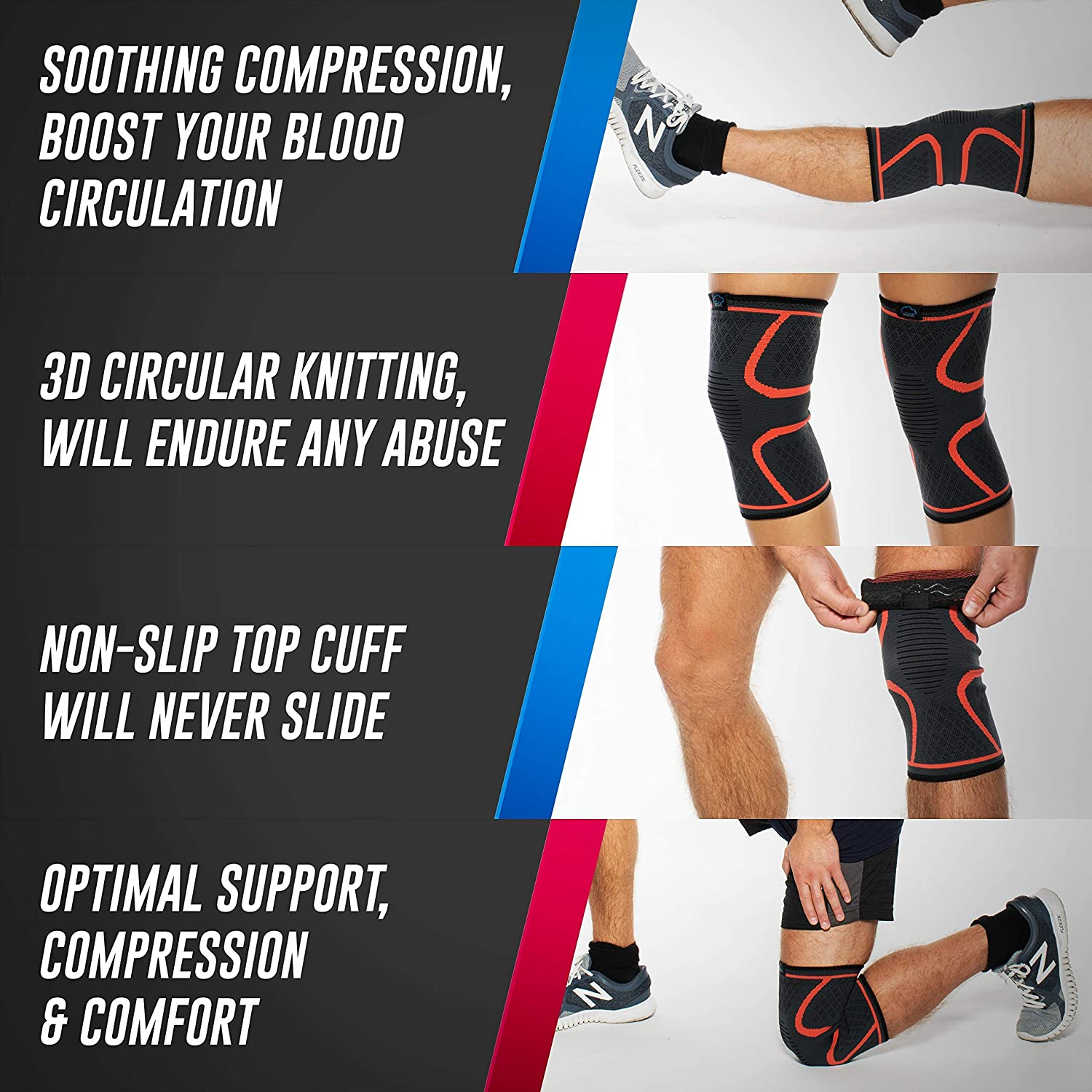 Modvel 2 Pack Knee Compression Sleeve | Knee Brace for Men & Women | Knee Support for Running, Basketball, Weightlifting, Gym, Workout, Sports