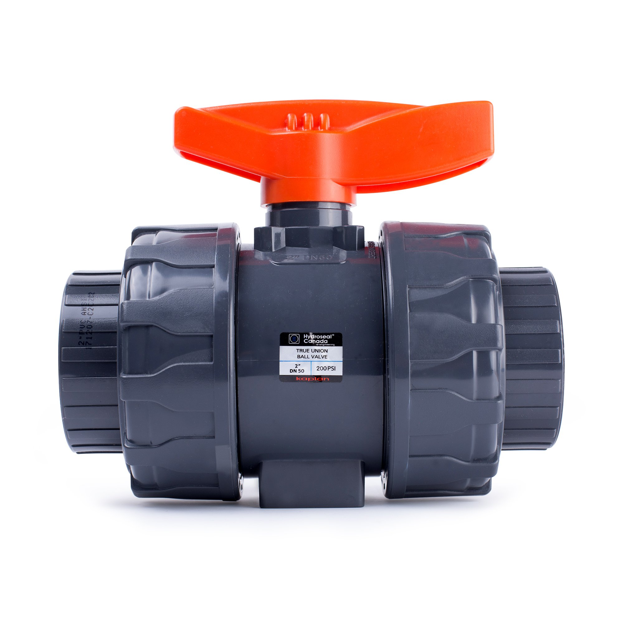 HYDROSEAL Kaplan 2'' PVC True Union Ball Valve with Full Port, ASTM F1970, EPDM O-Rings and Reversible PTFE Seats, Rated at 200 PSI @73F, Gray, 2 inch Socket (2 inch)