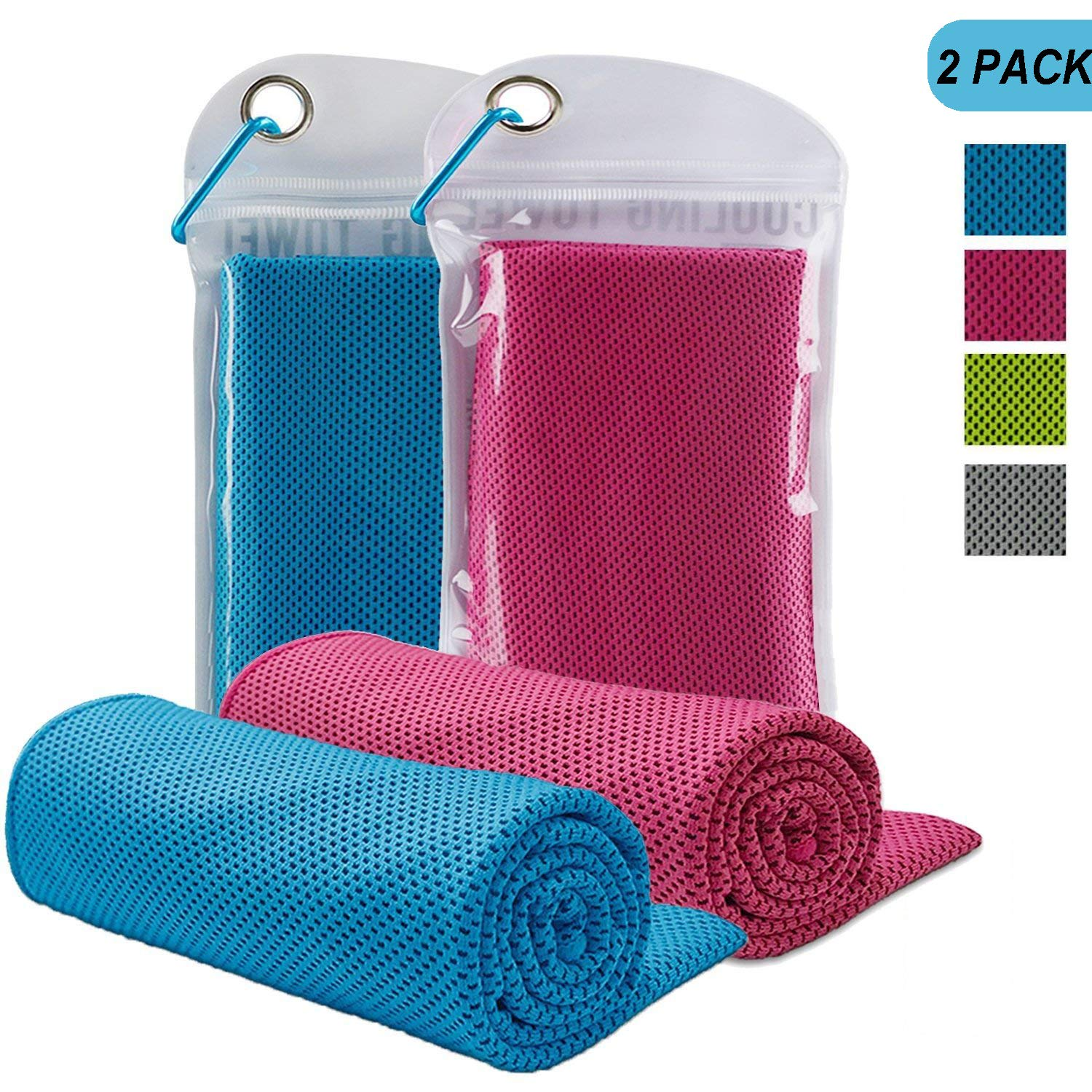 LENPOW Cooling Towel Ice Cold Scarf Chilling Neck Wrap Ultimate Microfiber Bandana Evaporative Chilly Extra Soft washcloth washrag for Sport workout gym fitness Yoga Golf Travel Instant Cooling Relief