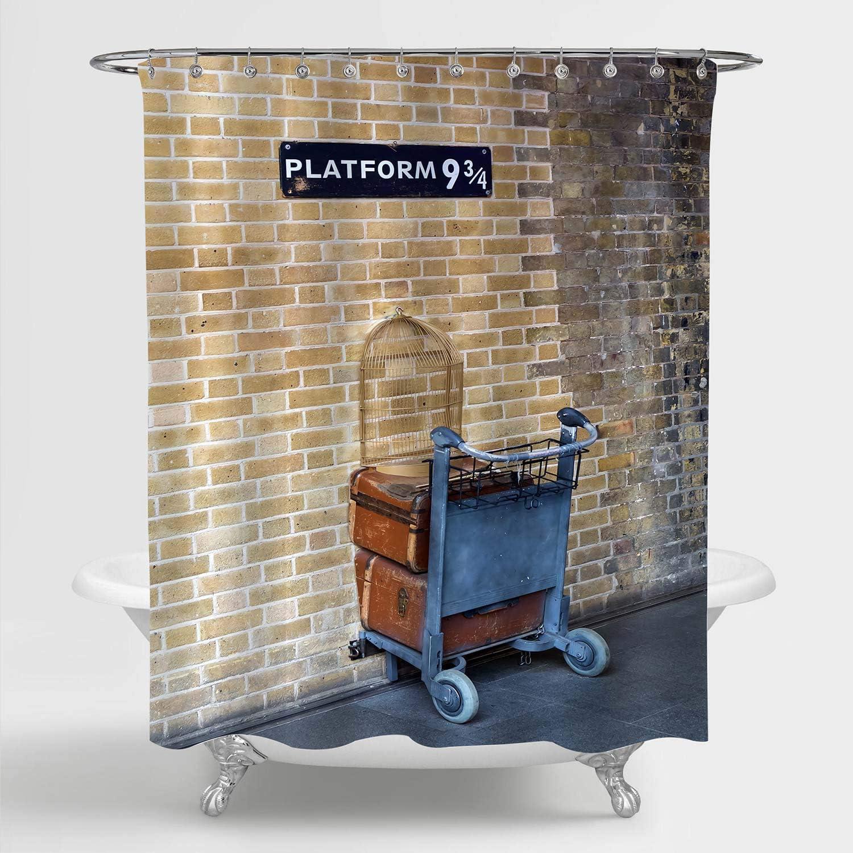 "MitoVilla Vintage 9 3/4 Shower Curtain, London King's Cross Station Platform 9 3/4 Scenic Bathroom Decor, Secret Passage to The Magic School for Women, Men, Kids Boys Girls Gifts, Brown, 72"" W x 72"" L"