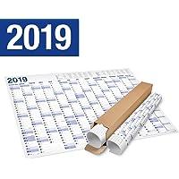 XXL Jahresplaner, Wandkalender 2019 in Poster Format (70x 100 cm), 15 Monate, in Rolle geliefert. Jahreskalender Wandplaner Wandkalender Kalender. (1)