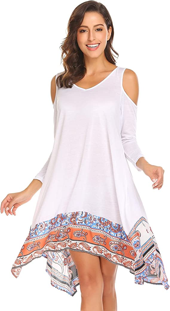 Rayon Cold Shoulder Swing Tunic
