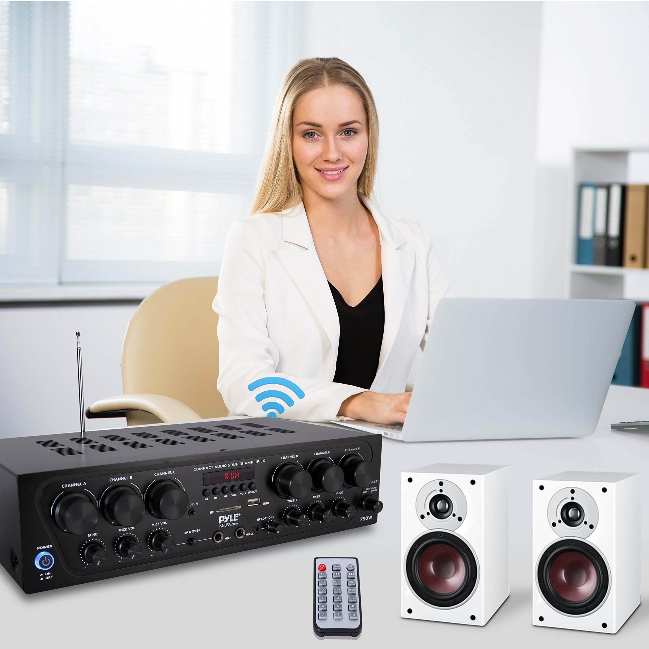 Bluetooth Home Audio Amplifier System - Upgraded 2018 6 Channel 750 Watt Wireless Home Audio Sound Power Stereo Receiver w/ USB, Micro SD, Headphone, 2 Microphone Input w/ Echo, Talkover for PA - Pyle by Pyle (Image #6)