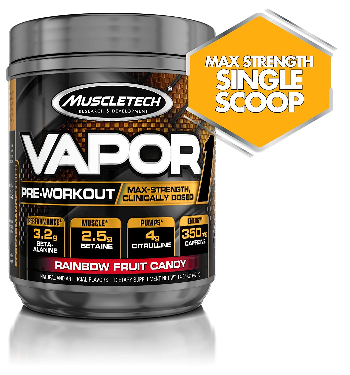 Muscletech Vapor One Pre Workout Powder, One Scoop Formula with Betaine HCL, Creatine and Beta Alanine to Boost Energy Amplify Muscle Building, Rainbow Fruit Candy, 20 Servings 14.8oz