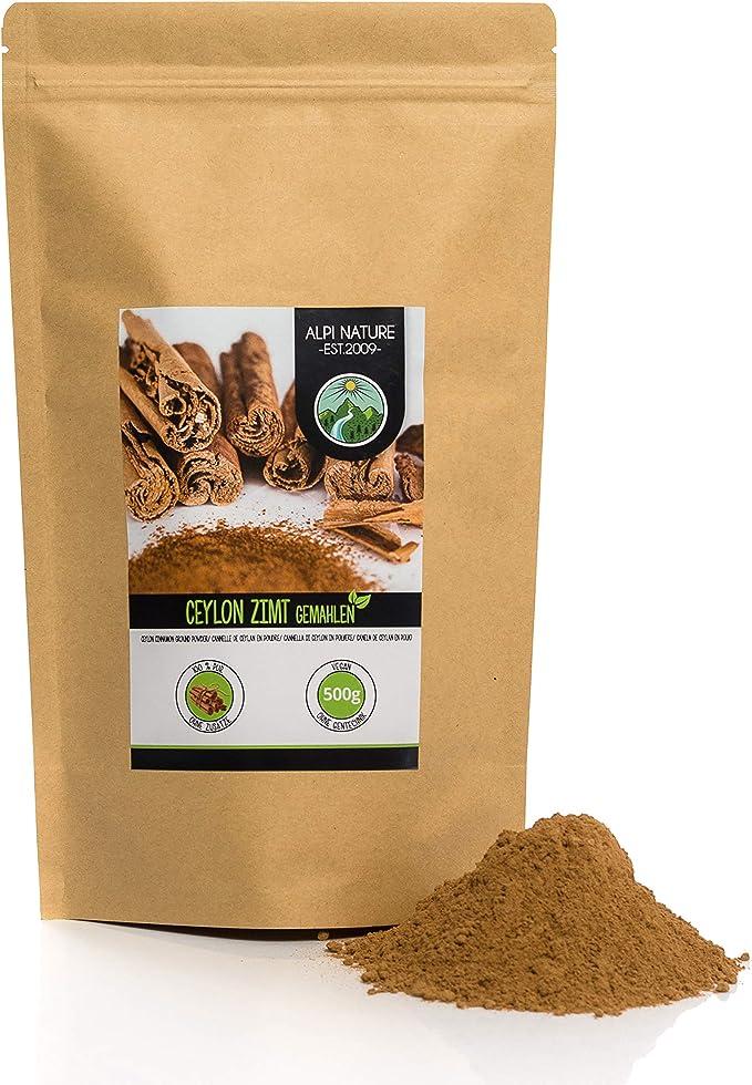 Canela de Ceilán en polvo (500g), especia 100% natural, suavemente secada y molida, vegana y sin aditivos