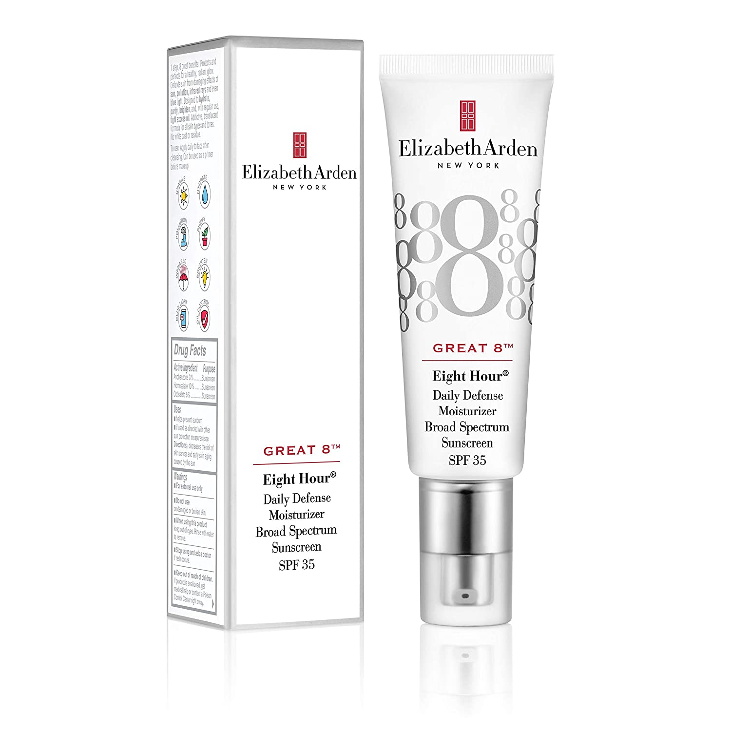 Elizabeth Arden Great 8 Daily Defense Facial Moisturizer Broad Spectrum Sunscreen SPF 35, 1.5 Oz.