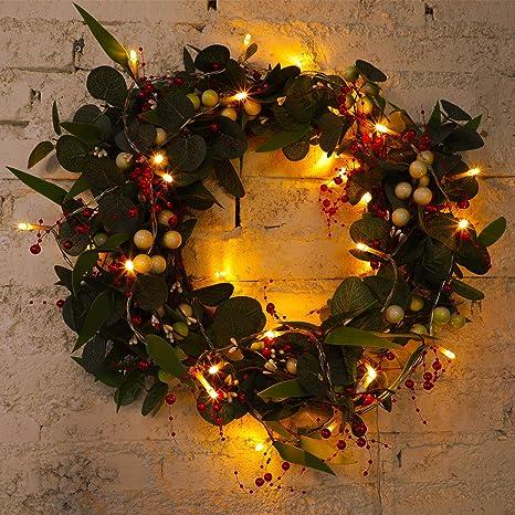 Decoraci/ón de 30 LED de Mu/érdago Luces de Hadas de Cuentas Bayas Guirnalda de Luz de Cuerda de Cuentas Bayas Guirnalda de Semillas Artificiales de Vacaciones para Decoraci/ón de Navidad