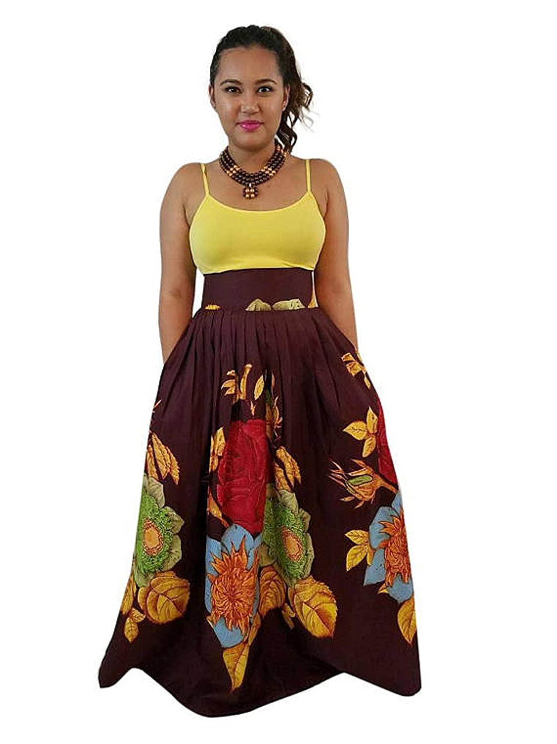 Akuyo Women Women African Printed Floral Skirt Casual Dress with Two Pockets (Purple and Yellow) (S-XL)