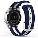 MoKo Gear S3 SmartWatch Correa - Reemplazo & Adjustable Nilón Strap Band para Samsung Gear S3 Frontier / S3 Classic / Moto 360 2nd Gen 46mm / Garmin Vívomove/ AMAZFIT Smart Watch, Azul & Blanco