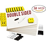 """DOUBLE SIDED Dry Erase Lapboards Pack Bulk Includes 30 Pcs 9 x 12"""" Inch Mini Small Whiteboards With Erasers and Markers For School Students Write Large Classroom Drawing Interactive Office Supplies"""