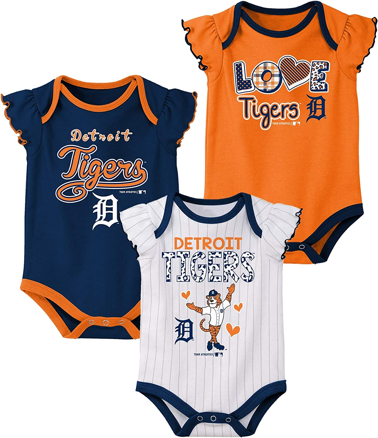 Detroit Tigers Bodysuit Baby Team Apparel Licensed  0-3 months Color Choices New
