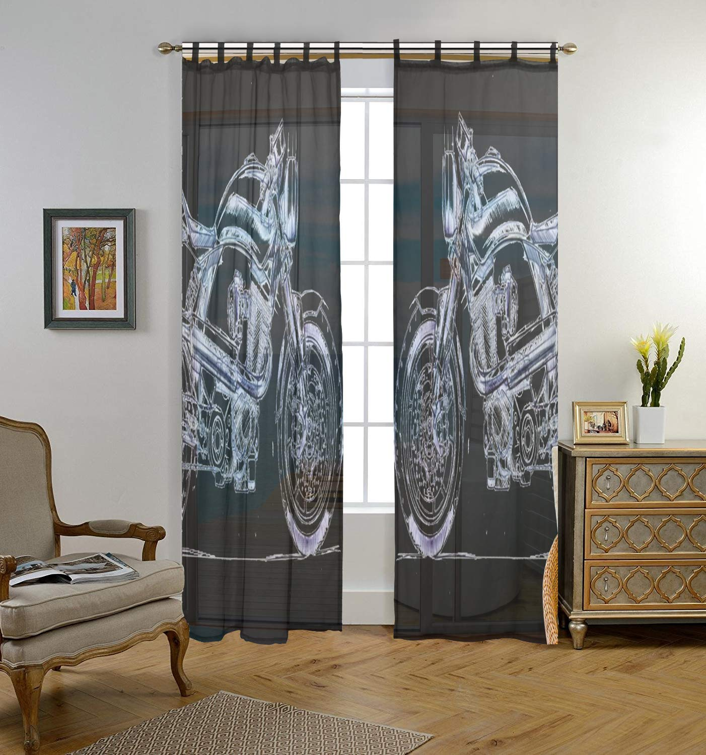 Black Sheer Curtains for Bedroom, Retro Harley Davidson Voile Window Curtain Panels for Living Room 2 Panel Set 55 x 78 Inch