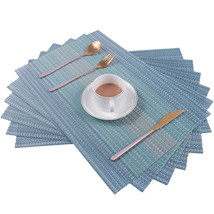 Superb Pauwer Placemats Set Of 6 For Dining Table Washable Woven Vinyl Placemat Non Slip Heat Resistant Kitchen Table Mats Easy To Clean Beutiful Home Inspiration Cosmmahrainfo