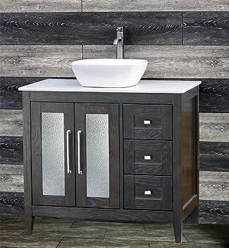 Solid Wood 36u0026quot; Bathroom Vanity Cabinet White Tech Stone (Quartz)  Vessel Sink Faucet