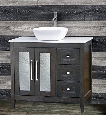 Amazoncom Solid Wood 36 Bathroom Vanity Cabinet White Tech Stone