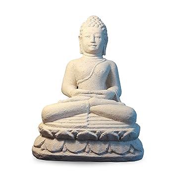 Moebel Kolonie Stein Buddha Im Lotussitz Aus Weißen Sandsteinguss