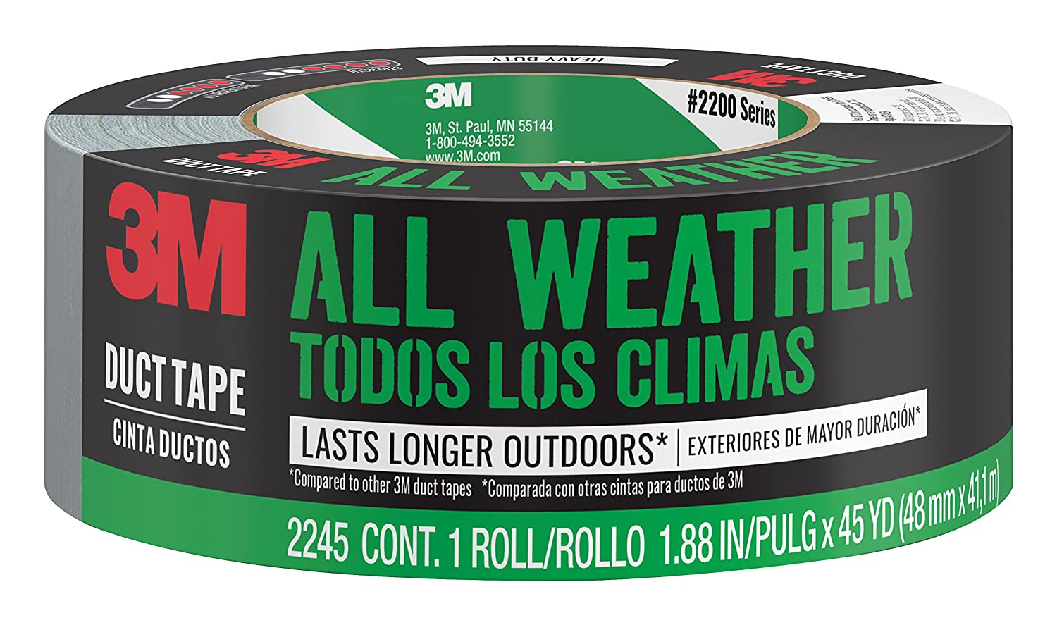 Amazon.com: 3M All-Weather Duct Tape, 2245-A, 1.88 Inches by 45 Yards: Home  Improvement