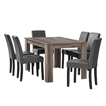 f702729285ecf8 en.CASA  Table à Manger en chêne Ancien avec 6 chaises Gris-foncé ...