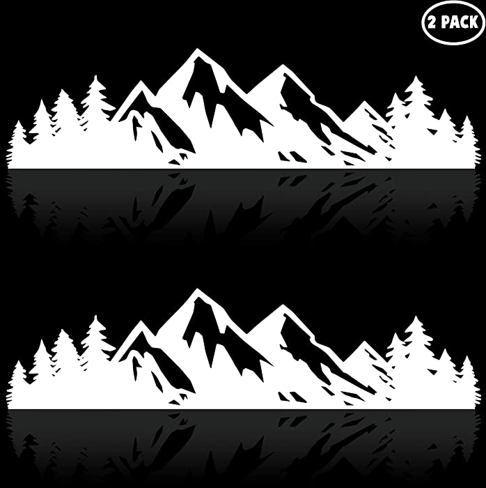 Vinyl Mountain Stickers Outdoor Bumper Stickers or Adventure Stickers 7 Inches White