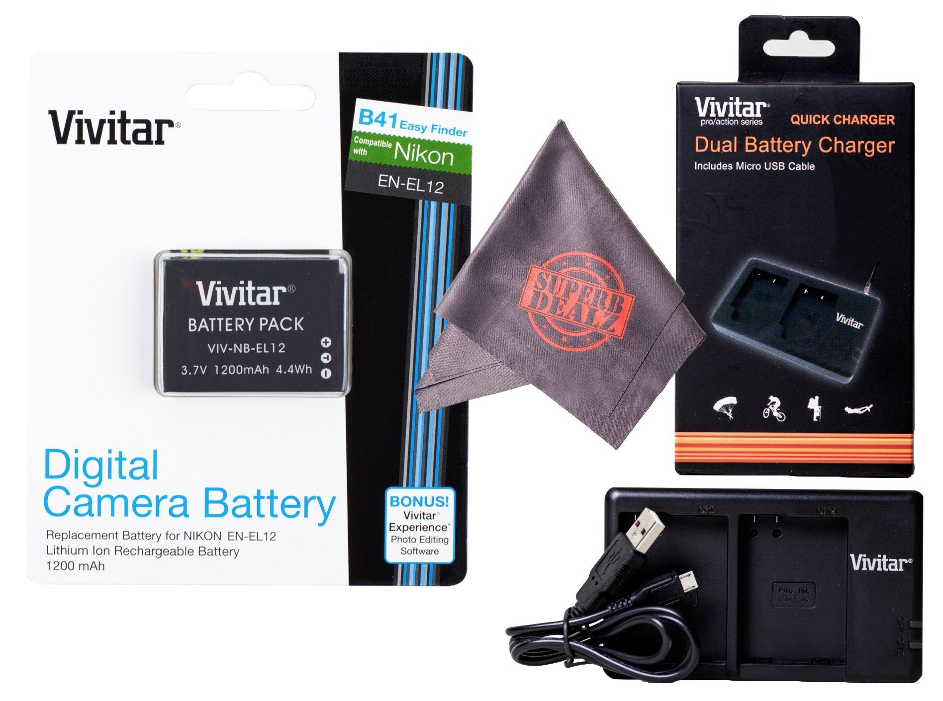 Vivitar EN-EL12 Ultra High Capacity Rechargeable 1200mAh Li-ion Battery + Vivitar Dual Charger + Microfiber Lens Cleaning Cloth for NIKON Coolpix Cameras (Nikon EN-EL12 Replacement)