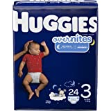 HUGGIES OverNites Diapers, Size 3, 24 ct, Overnight Diapers (Packaging May Vary)