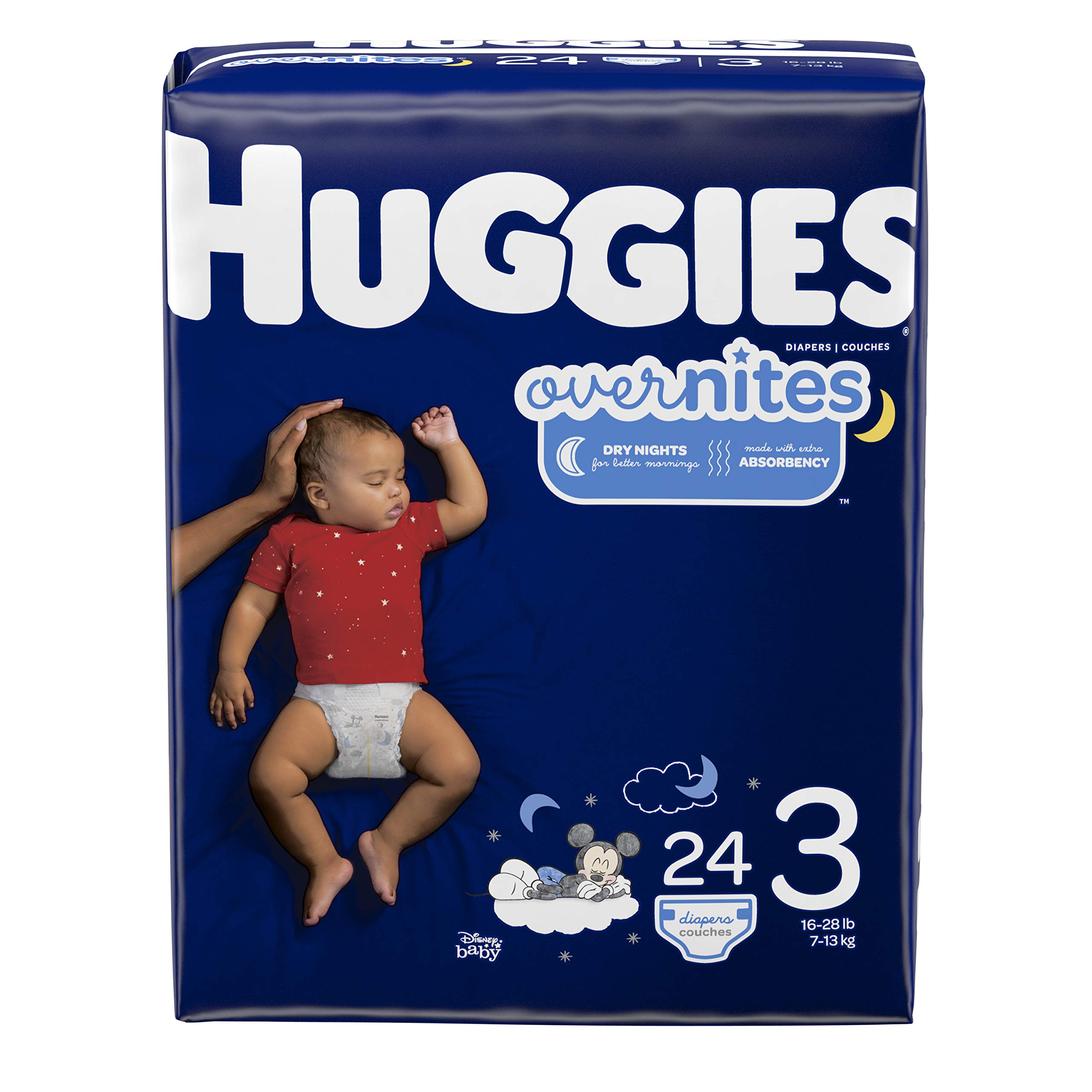 HUGGIES OverNites Diapers, Size 3, 24 ct., Overnight Diapers (Packaging May Vary) by HUGGIES
