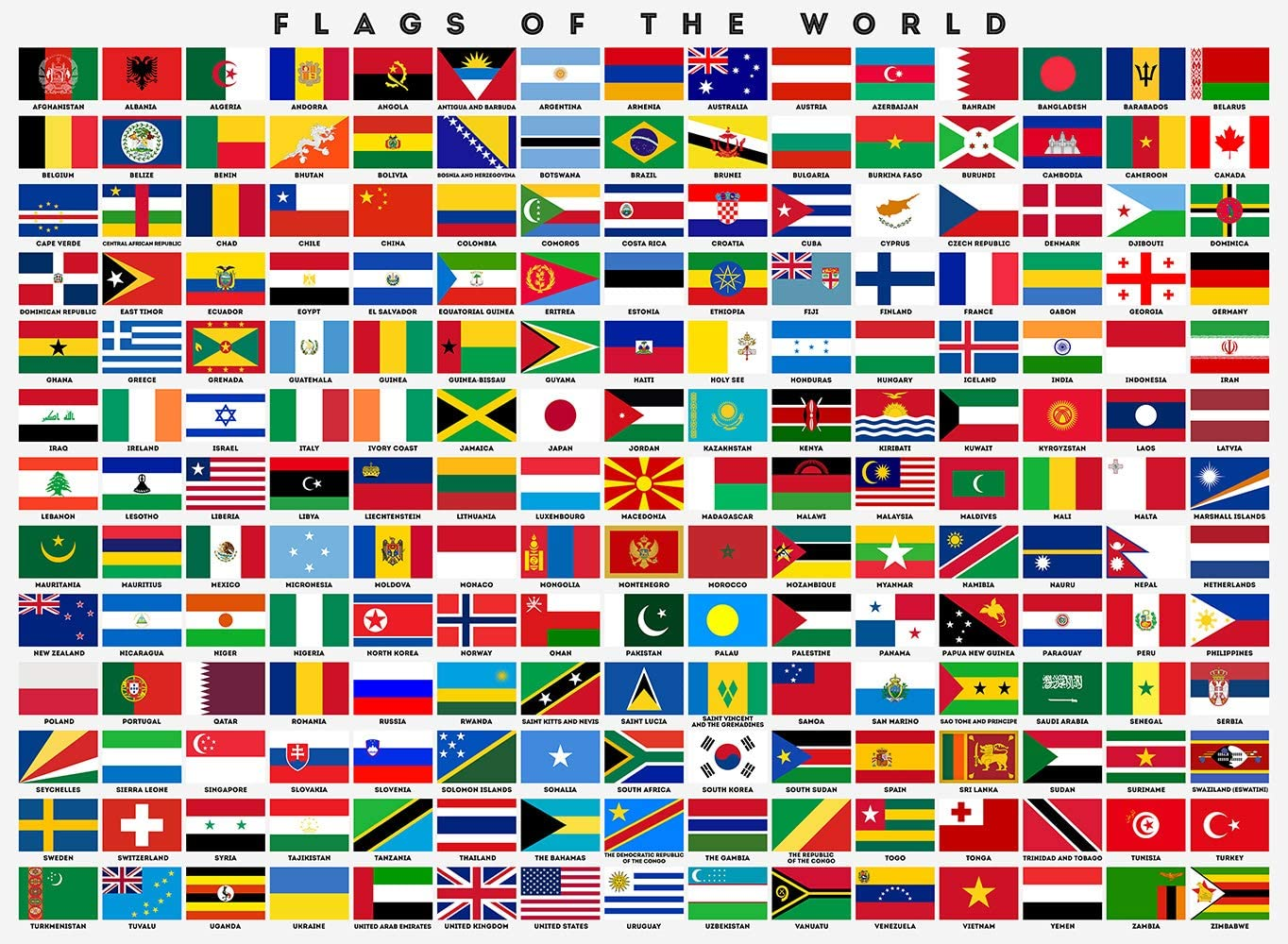 Zapista Flags Of The World Art Print Country Flags Poster Classroom Educational Chart Gifts Wall Decor Unframed 12 X 8 75 Posters Prints