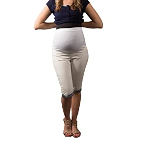 Vêtements De Maternité / Capri Pantalon De Grossesse Denim Pantalon Capri