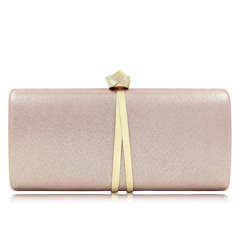 Women Bridal Metallic Evening Clutches Handbag Sparking Solid Clutch Purses (Rose Gold)