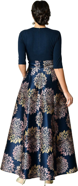 eShakti FX Plunge Floral Print Crepe Jumpsuit Customizable Neckline Sleeve /& Length