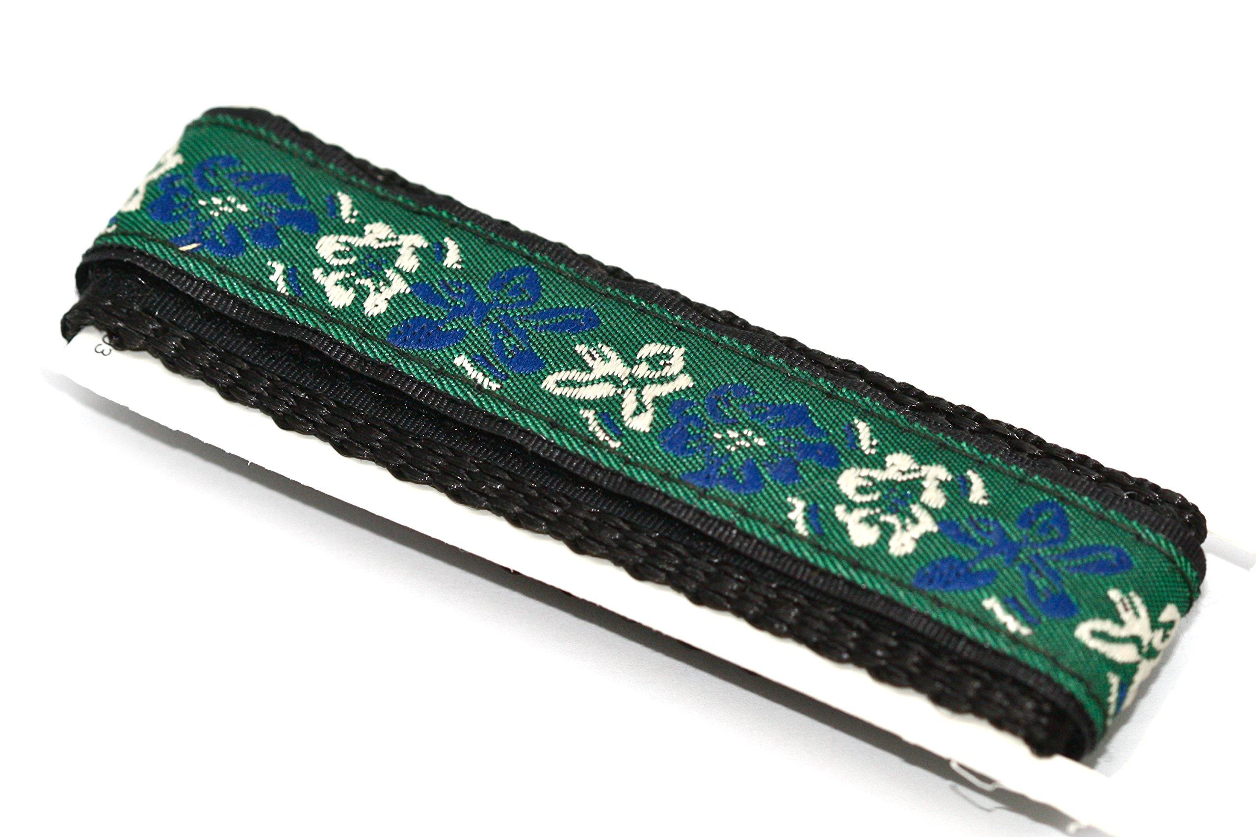 20mm Green Blue Hawaiian Flower Print Watch Band Fits Chums